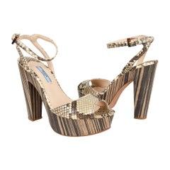Prada Shoe Snake Ankle Strap Striking Platform 37 /  7