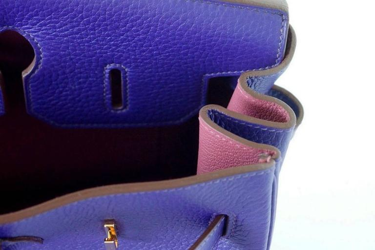 Guaranteed authentic Hermes Birkin 35  in vivid purple jewel toned Iris. Special Order Horseshoe HSS with muted pink Boise de Rose interior. This exotic combination is accentuated with lush gold hardware. Clemence leather is scratch resistant.  NEW