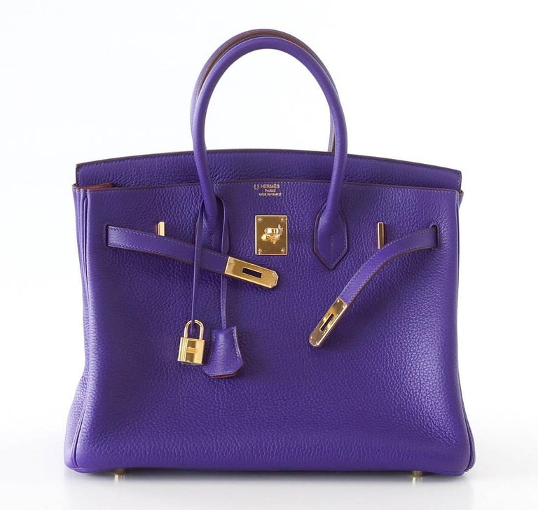 Hermes Birkin 35 Bag HSS Purple Iris Pink Bois de Rose Clemence Gold Hardware In New Never_worn Condition For Sale In Miami, FL