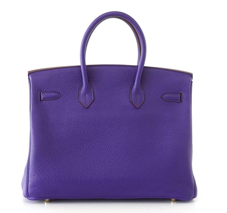 Women's Hermes Birkin 35 Bag HSS Purple Iris Pink Bois de Rose Clemence Gold Hardware For Sale