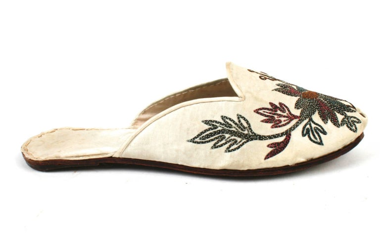 Handmade Indian Silk Floral Embroidered Flat Heeled Mules