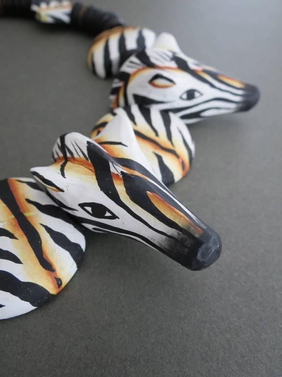 Danish Monies Gerda Lynggaard Zebra Choker Necklace Unique Signed 2