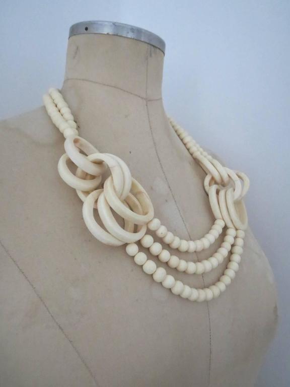 Vintage Danish Monies Gerda Lynggaard Horn Necklace Signed 5