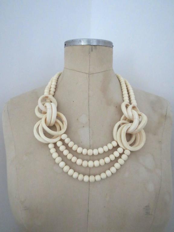 Vintage Danish Monies Gerda Lynggaard Horn Necklace Signed 3