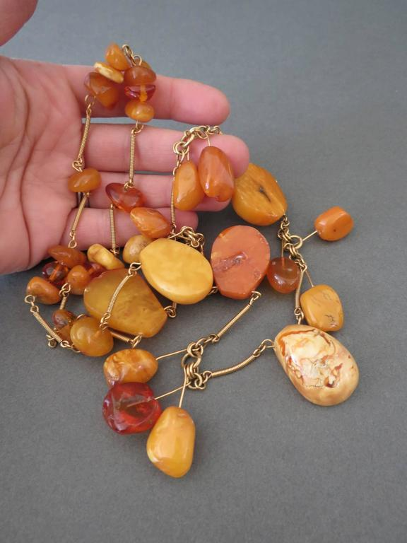 Vintage Natural Baltic Butterscotch Egg Yolk Amber Beads Necklace 7