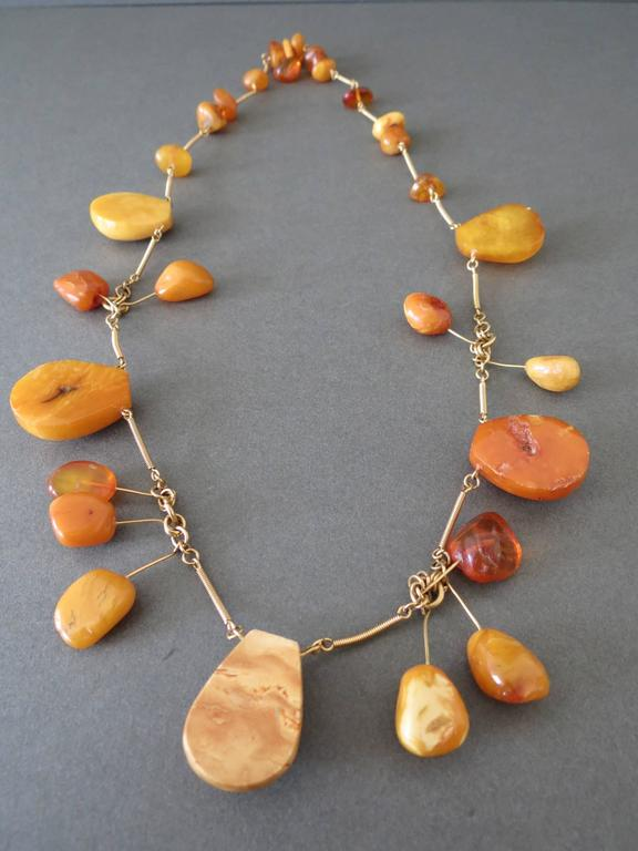 Vintage Natural Baltic Butterscotch Egg Yolk Amber Beads Necklace 8