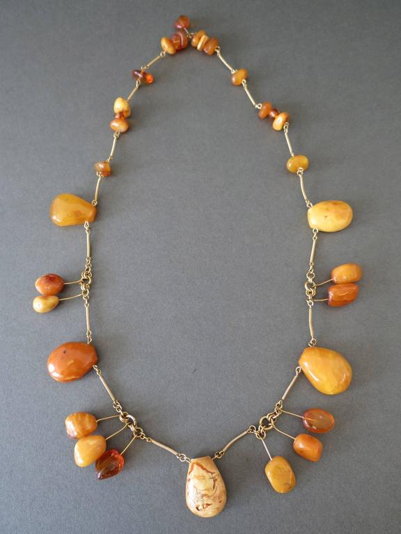 Vintage Natural Baltic Butterscotch Egg Yolk Amber Beads Necklace 2