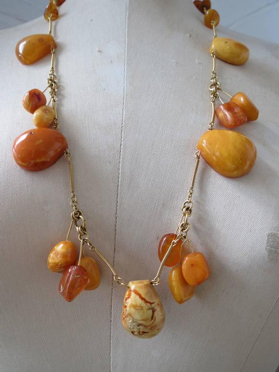 Vintage Natural Baltic Butterscotch Egg Yolk Amber Beads Necklace 9