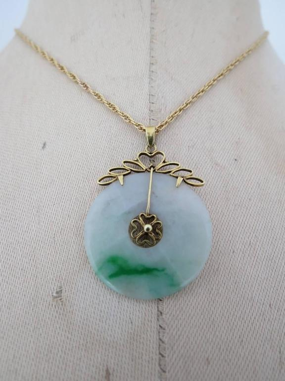 Vintage Chinese Apple Jade 14k Gold Pendant 9k Gold Necklace 14ct 8