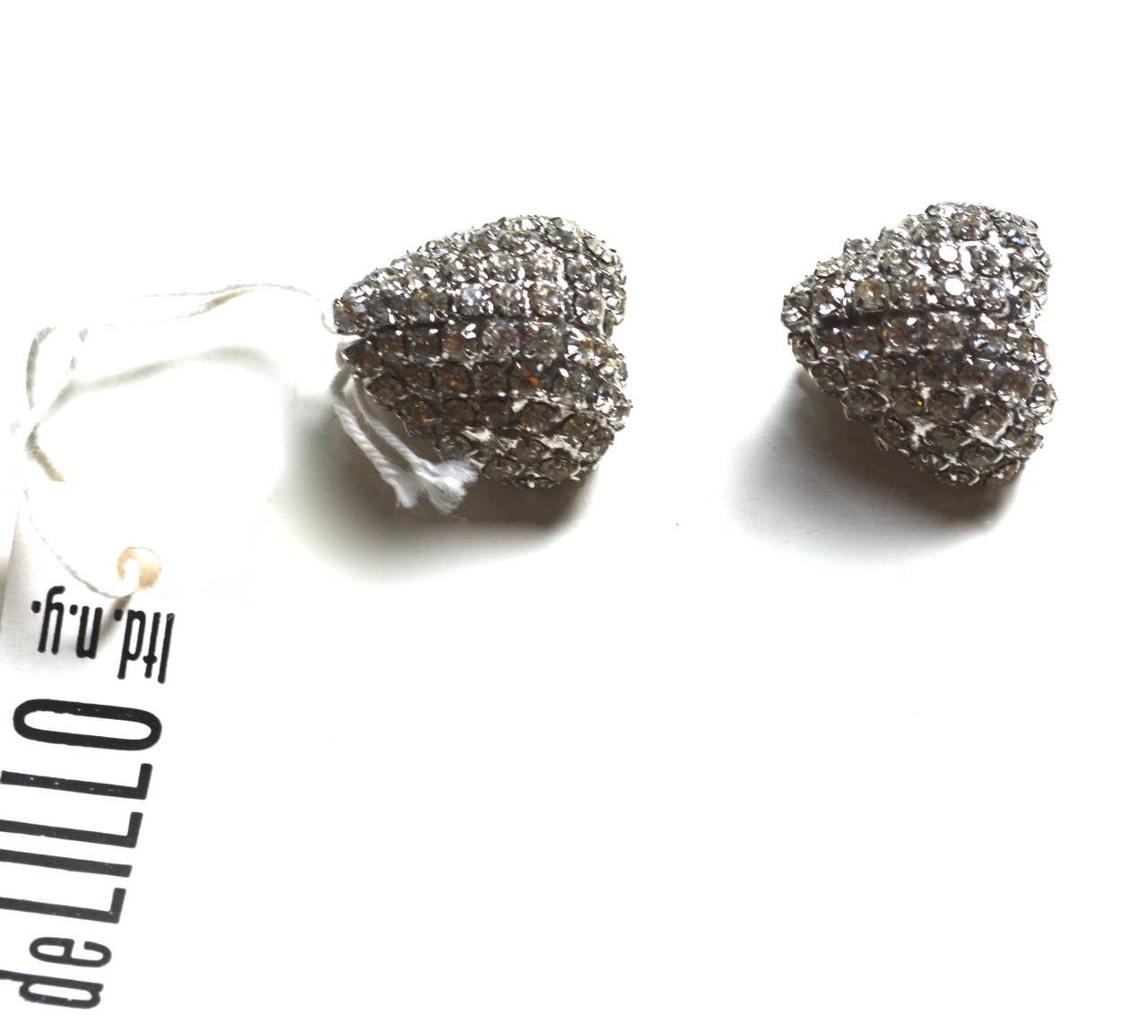 William De Lillo Rhinestone Heart Earrings 2