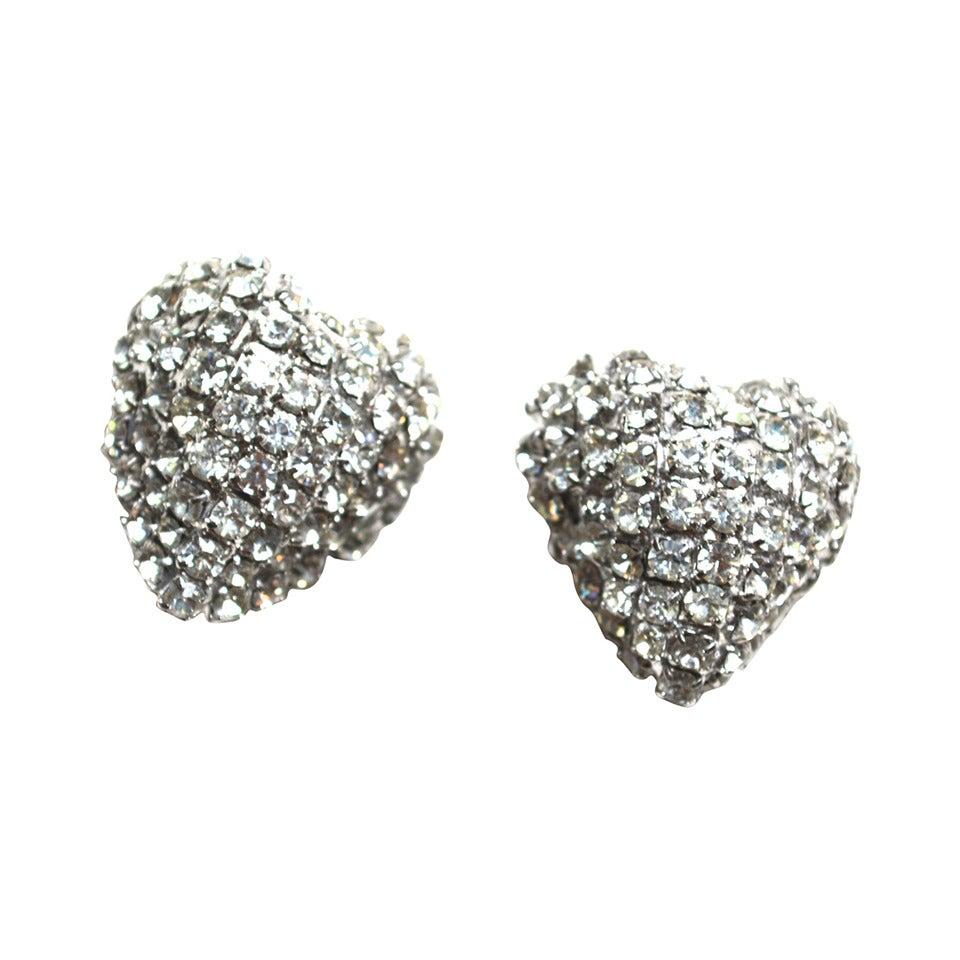 William De Lillo Rhinestone Heart Earrings For Sale