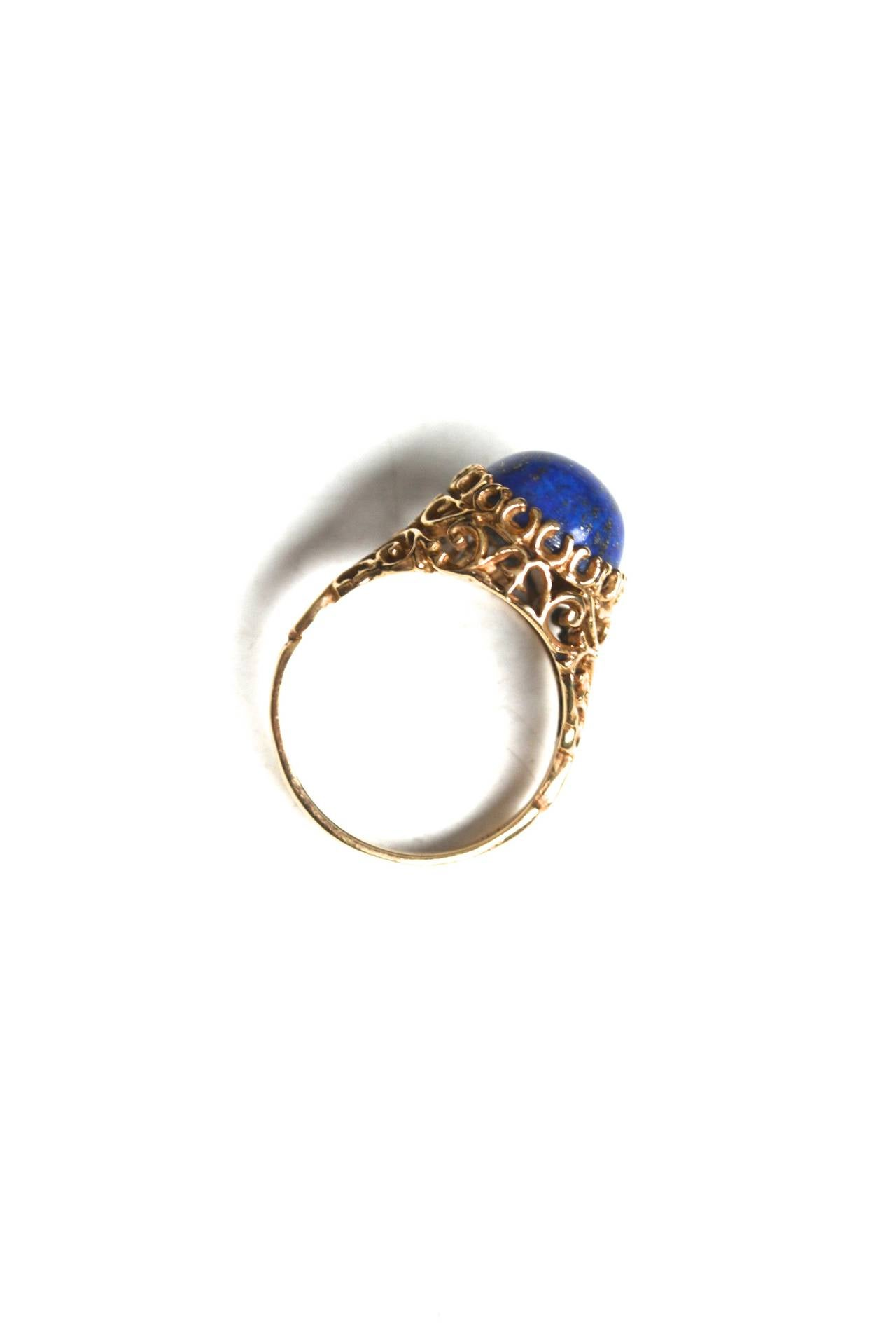 1960s Lapis Gold Cocktail Ring 2