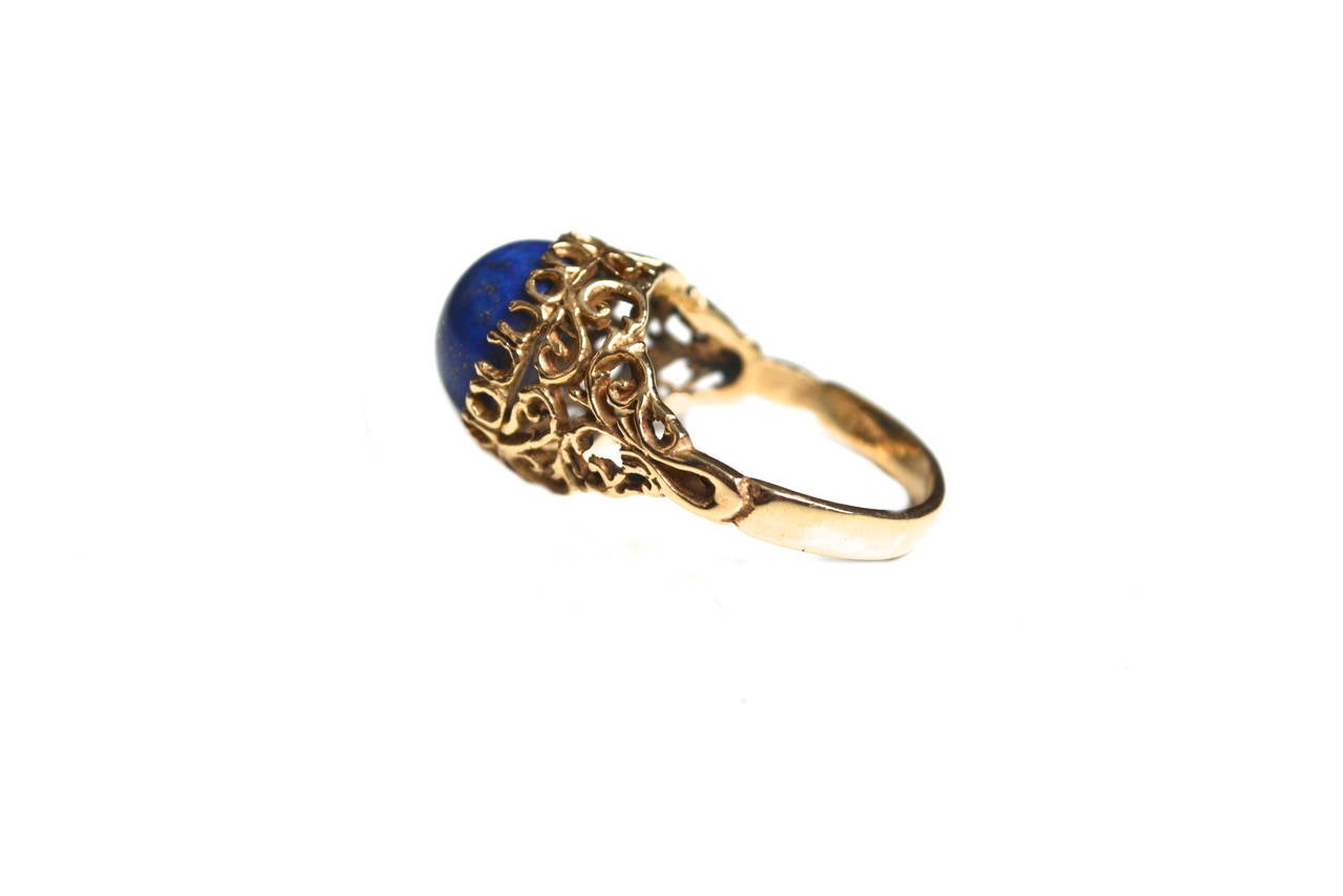1960s Lapis Gold Cocktail Ring 4