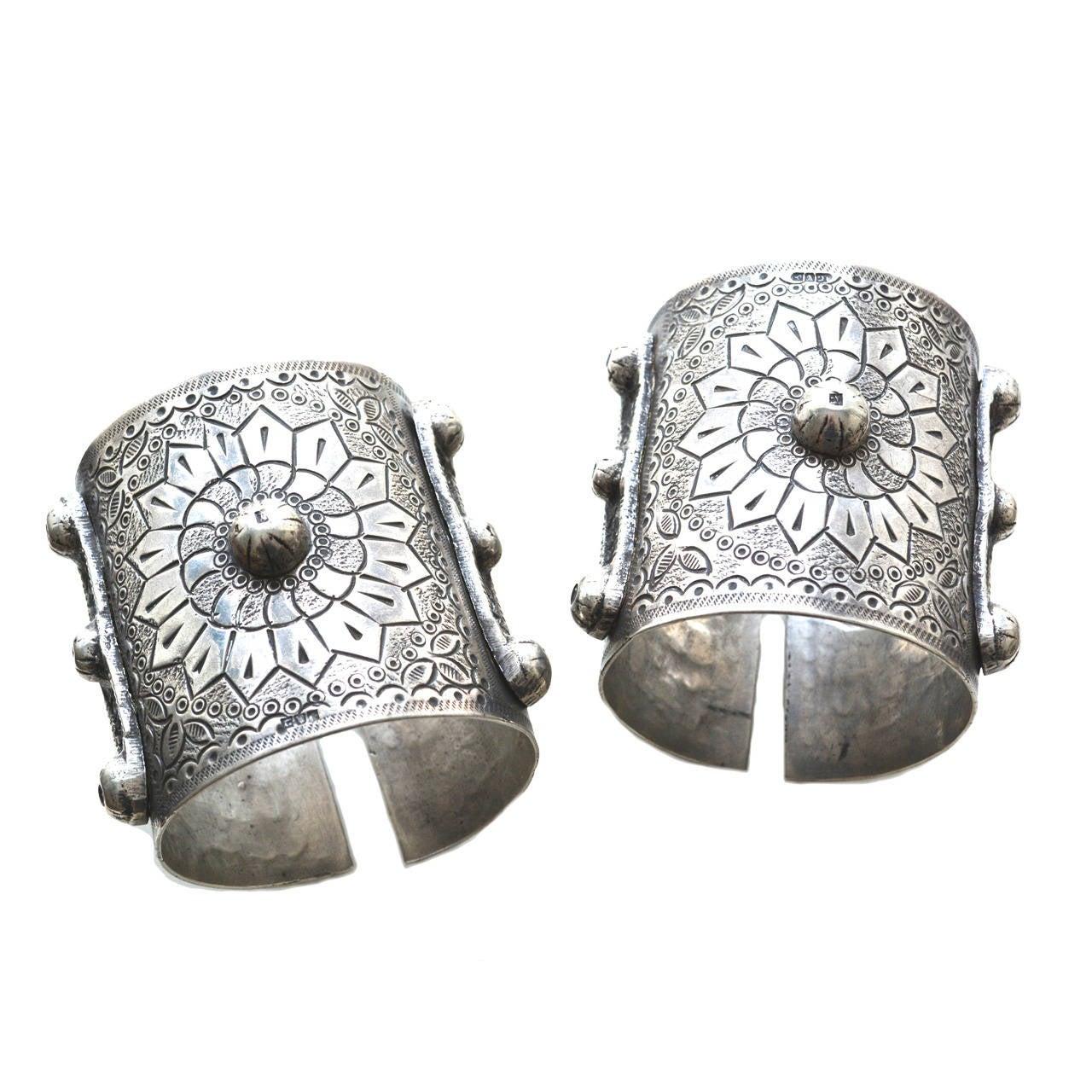 Egyptian 900 Silver Cuffs / Bedouin Armor Bracelets / Siwa Oasis For Sale
