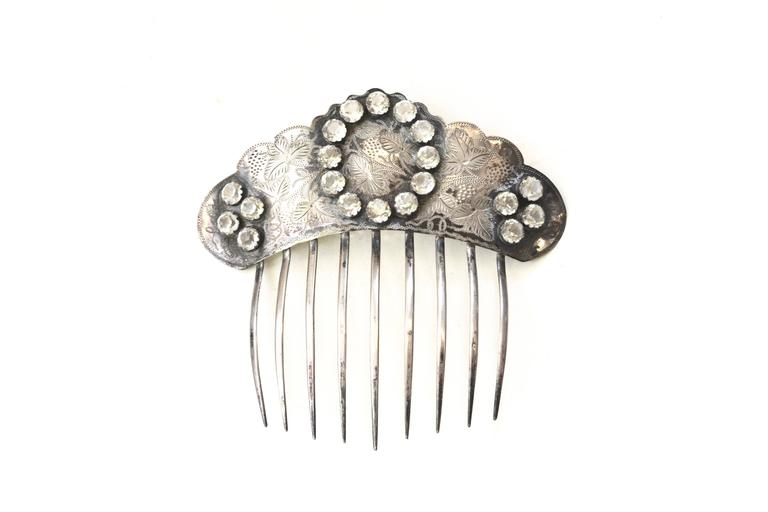 "Rare gorgeous silver paste stone hair comb, circa 1850s. Unmarked, silver content is about 800. Would be stunning for an event or wedding.  About 5"" wide."
