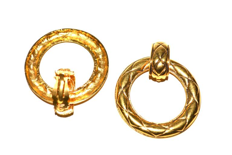 Oversized Chanel Door Knocker Quilted Earrings In Excellent Condition For Sale In Litchfield County, CT