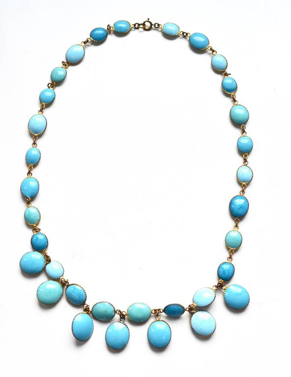 Jacques Fath Couture Turquoise Gripoix Necklace and Earrings. 6