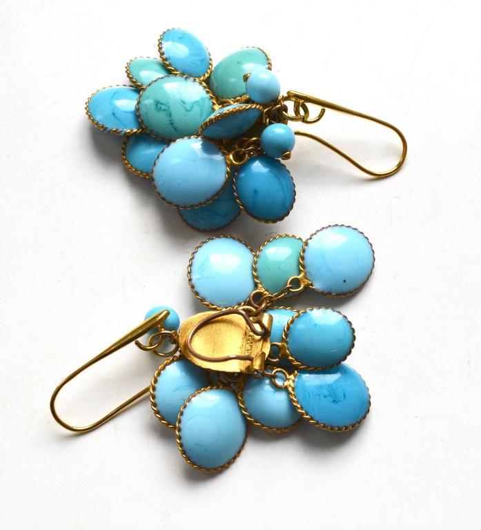 Jacques Fath Couture Turquoise Gripoix Necklace and Earrings. 5