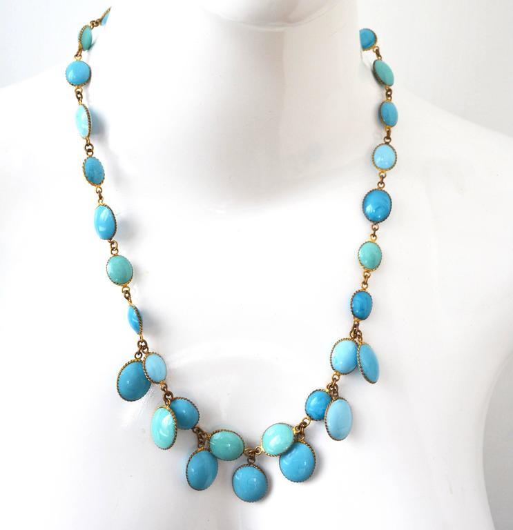 Jacques Fath Couture Turquoise Gripoix Necklace and Earrings. 2