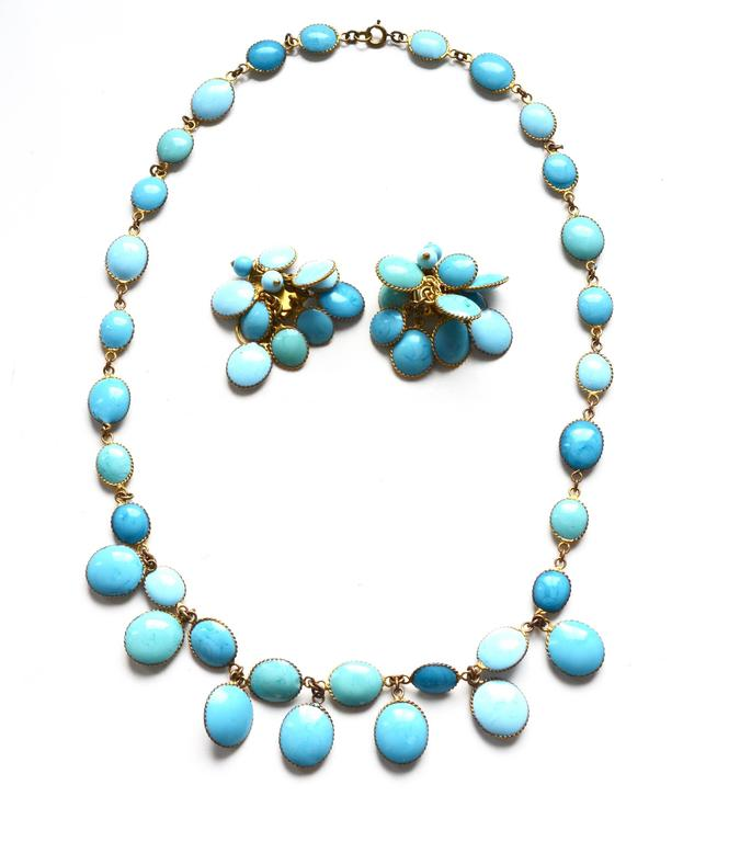 Jacques Fath Couture Turquoise Gripoix Necklace and Earrings. 7