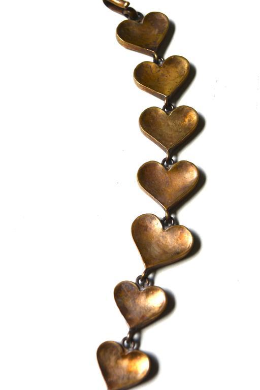 Rare Line Vautrin Gilt Heart Medallion Necklace  5