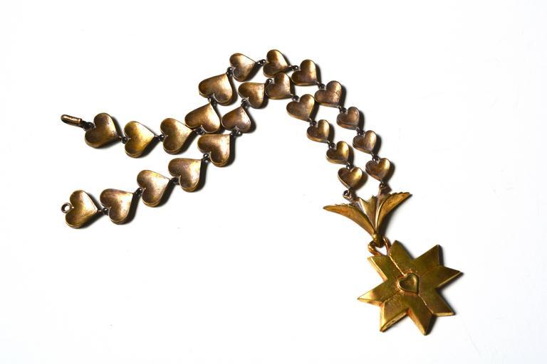 Rare Line Vautrin Gilt Heart Medallion Necklace  3