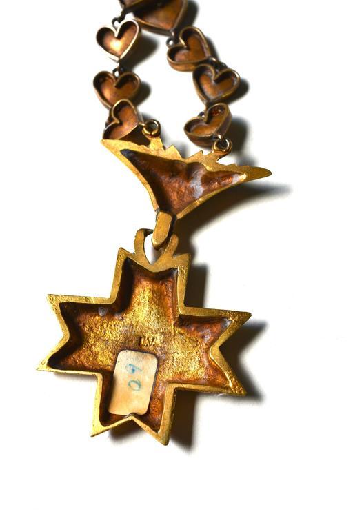 Rare Line Vautrin Gilt Heart Medallion Necklace  6