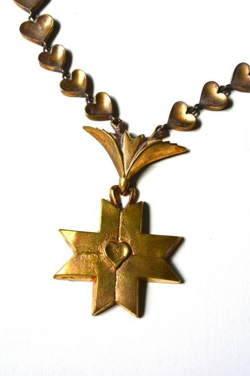 Rare Line Vautrin Gilt Heart Medallion Necklace  4