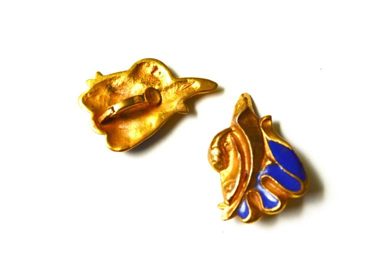 Line Vautrin Blue Enamel Gilt Earrings 2