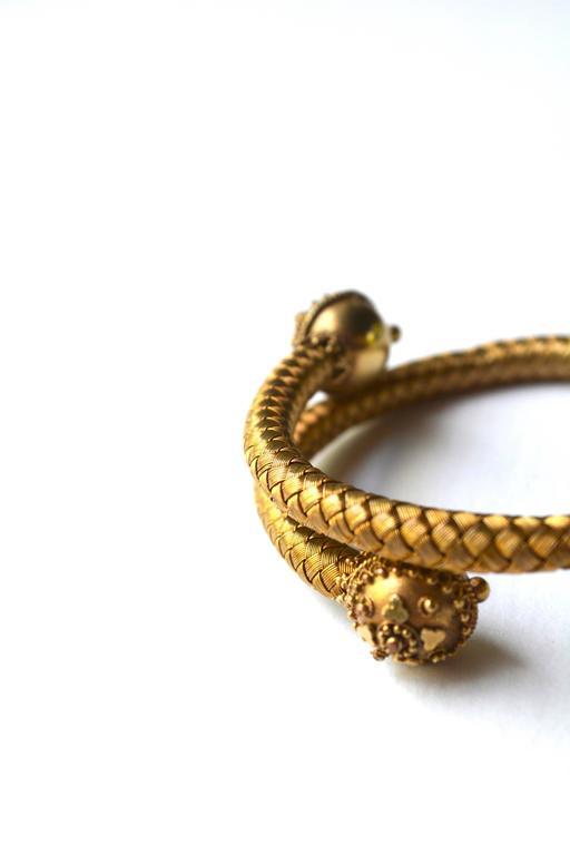 Women's or Men's 14K Victorian Wrap Etruscan Bracelet. For Sale