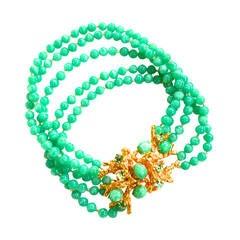 William de Lillo Green Glass Coral Design Choker