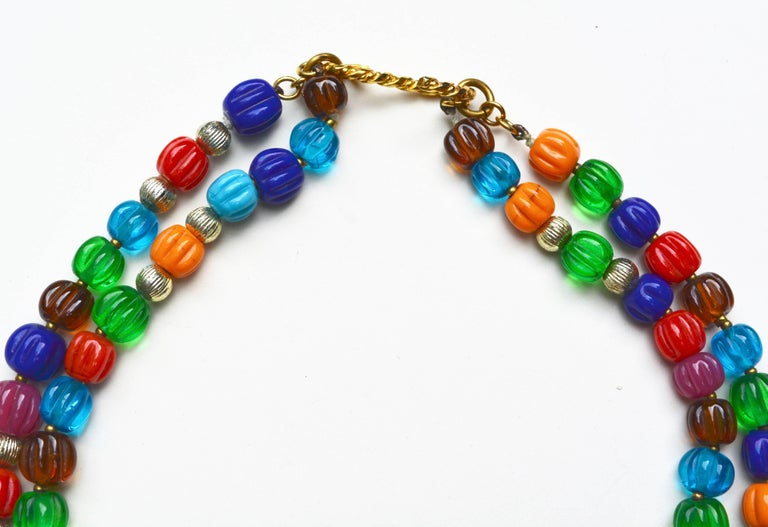 Circa 1950s-60s unsigned Chanel gripoix glass necklace. The clasp is one I have seen on others from this period. The beads have a node to French mellon style deco beads. This Chanel clasp style is similar to that featured in the Bijoux de Couture