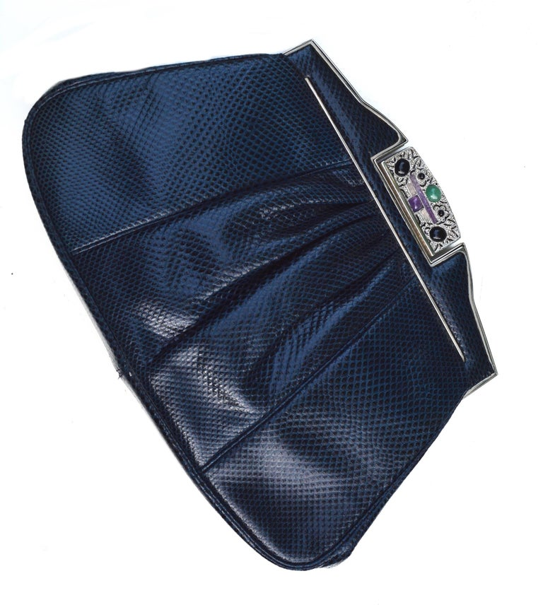 Navy Lizard Judith Lieber Precious Stone Clutch  In Excellent Condition For Sale In Litchfield County, CT
