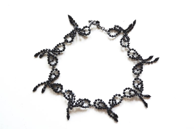 Women's or Men's 60s Rhinestone Handmade Bow Necklace  For Sale