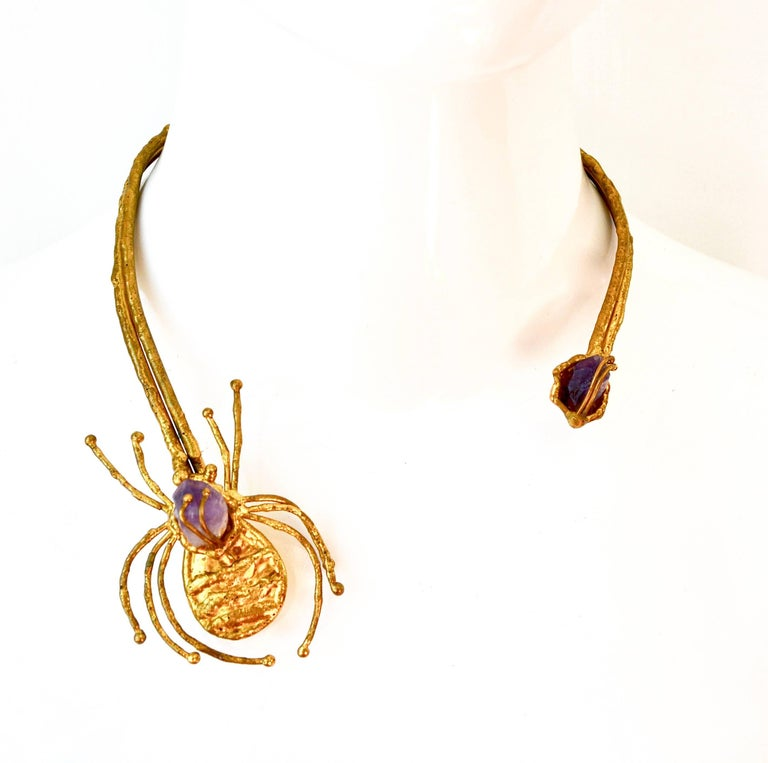 Women's or Men's 1970s Amethyst Brutalist Spider Necklace  For Sale