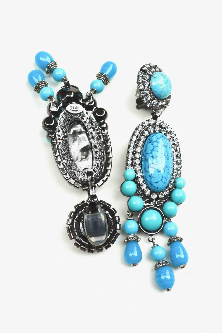 Gorgeous blue Lawrence Vrba earrings in glass and rhinestone detailing.  Signed.