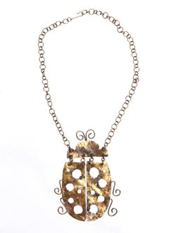 Vintage Brutalist Bug Necklace
