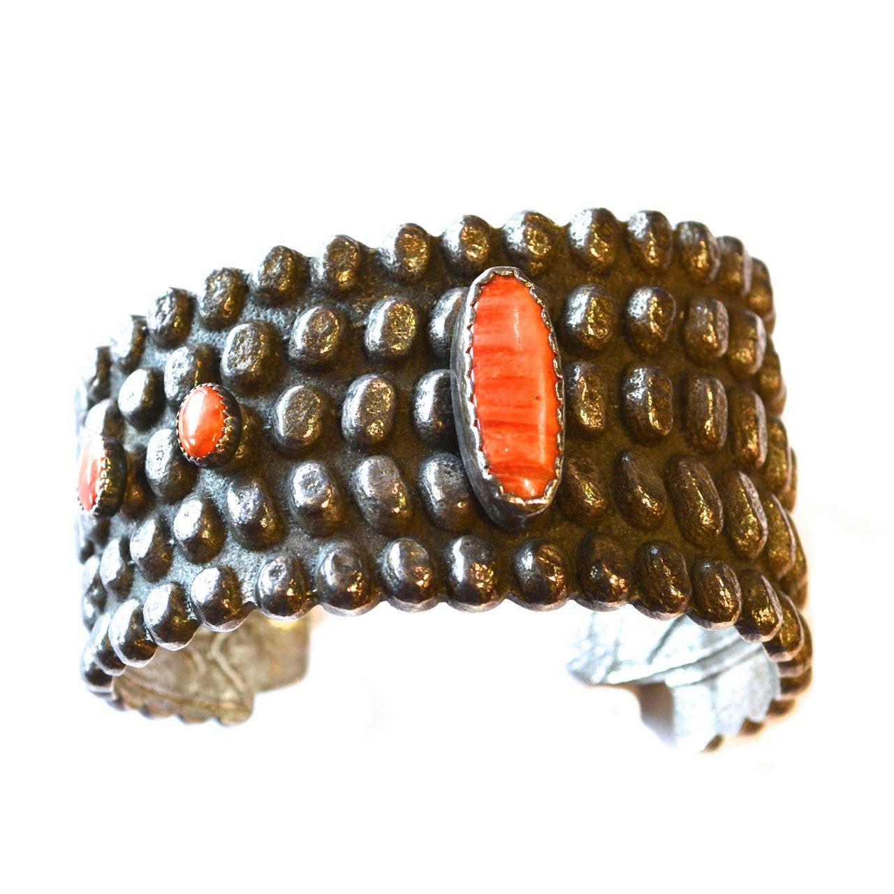 Anthony Lovato Coral Corn Cuff / Santo Domingo Pueblo For Sale