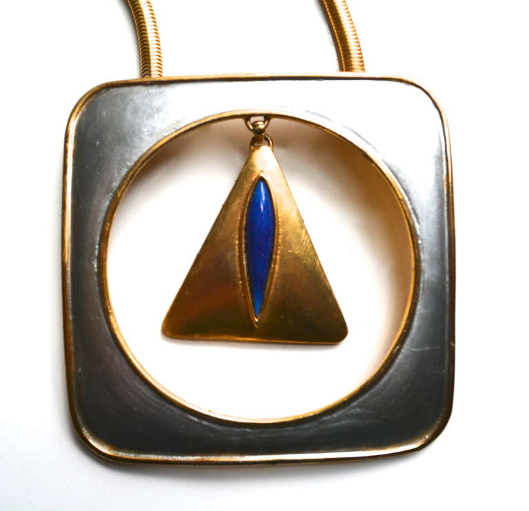 Pierre Cardin Mod Triangle Necklace For Sale 2