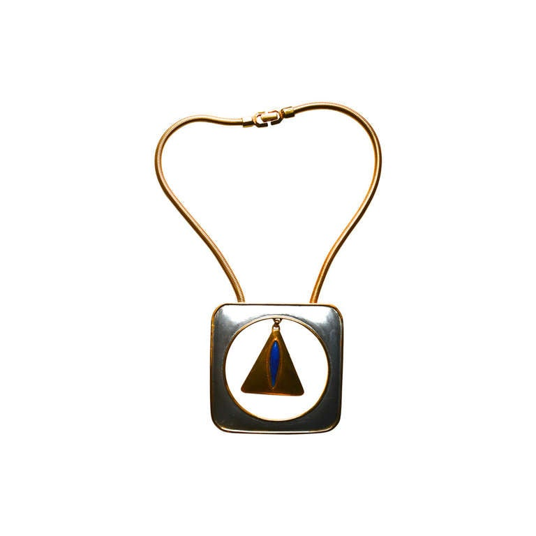 Pierre Cardin Mod Triangle Necklace For Sale