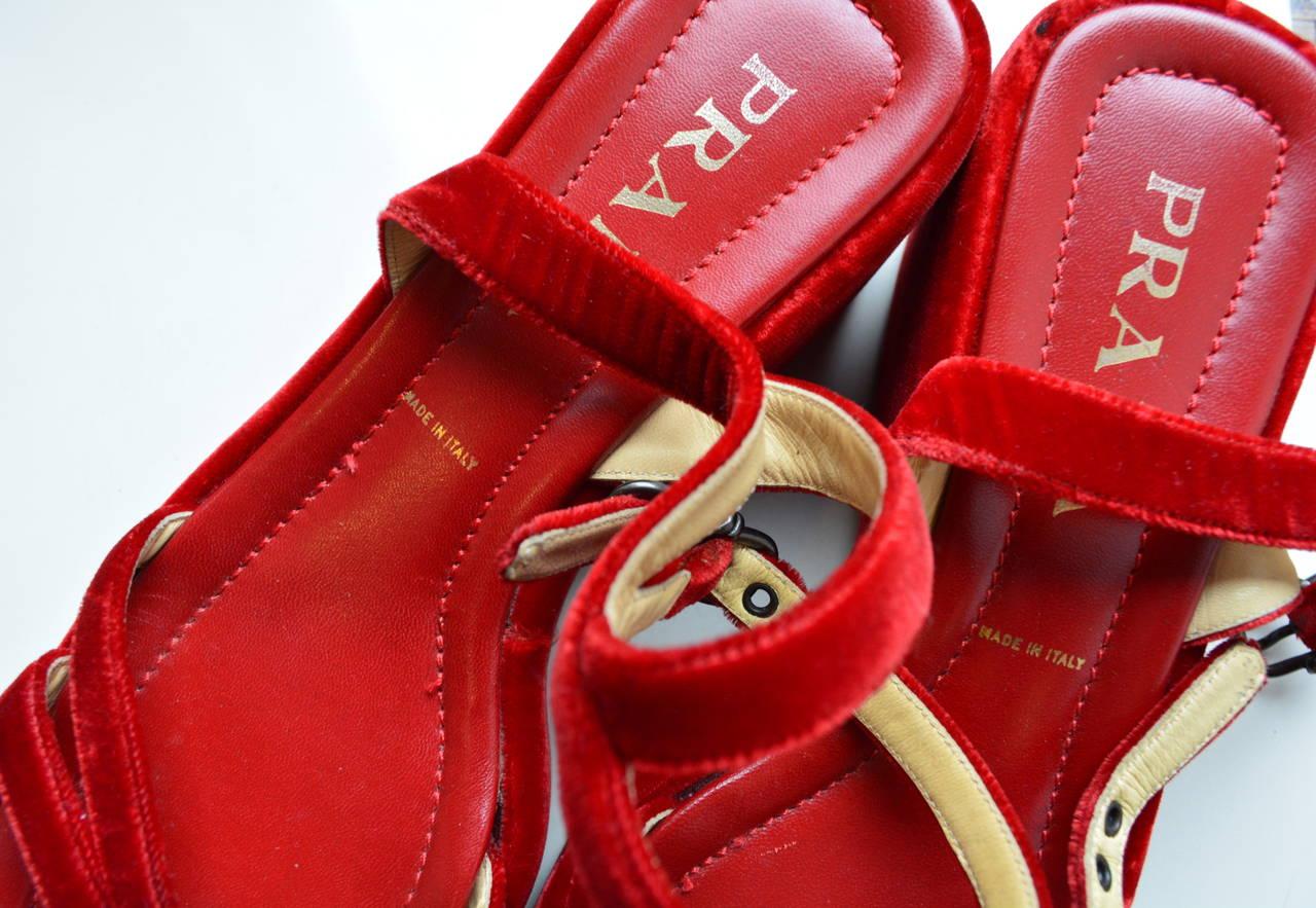 Prada Red Velvet Sandals 38 1/2 2