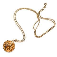 HOLD Edwardian 14K Gold Griffin Locket