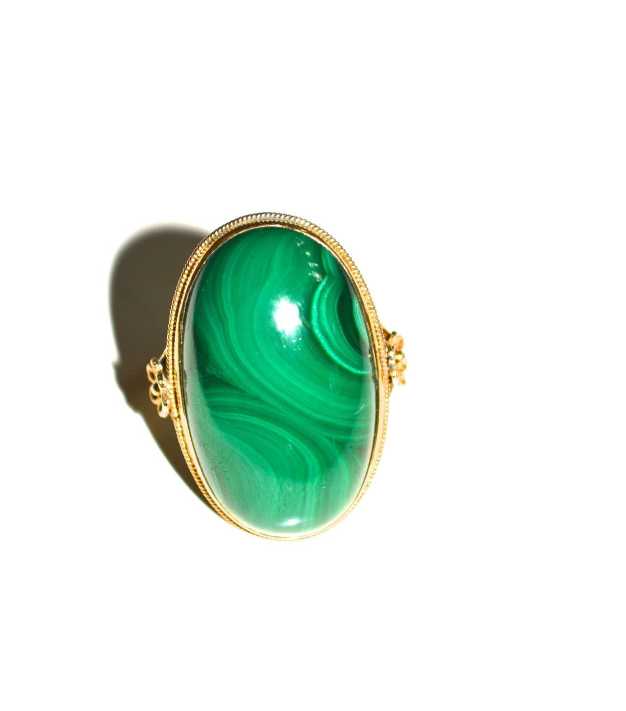 Edwardian 18K Gold Malachite Ring 2