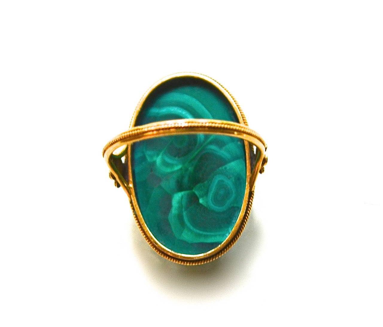 Edwardian 18K Gold Malachite Ring 3