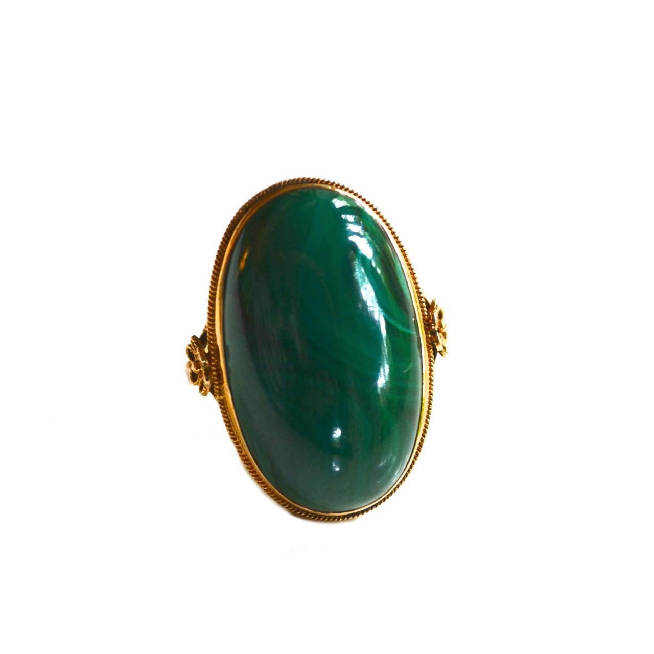 Edwardian 18K Gold Malachite Ring 1