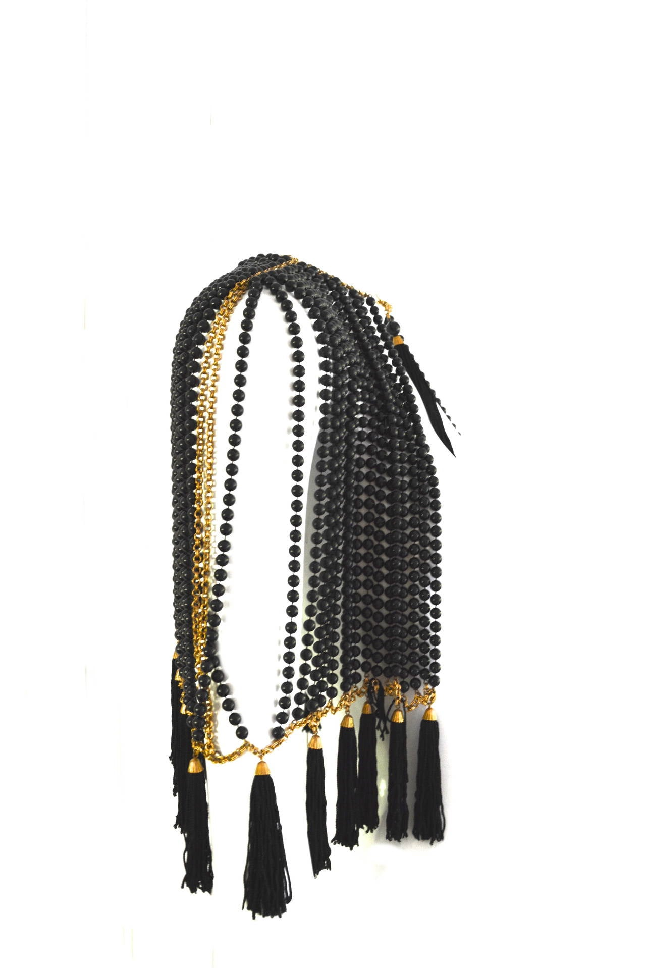 Bill Smith Richelieu Black Lucite Bead and Tassel Cape 2