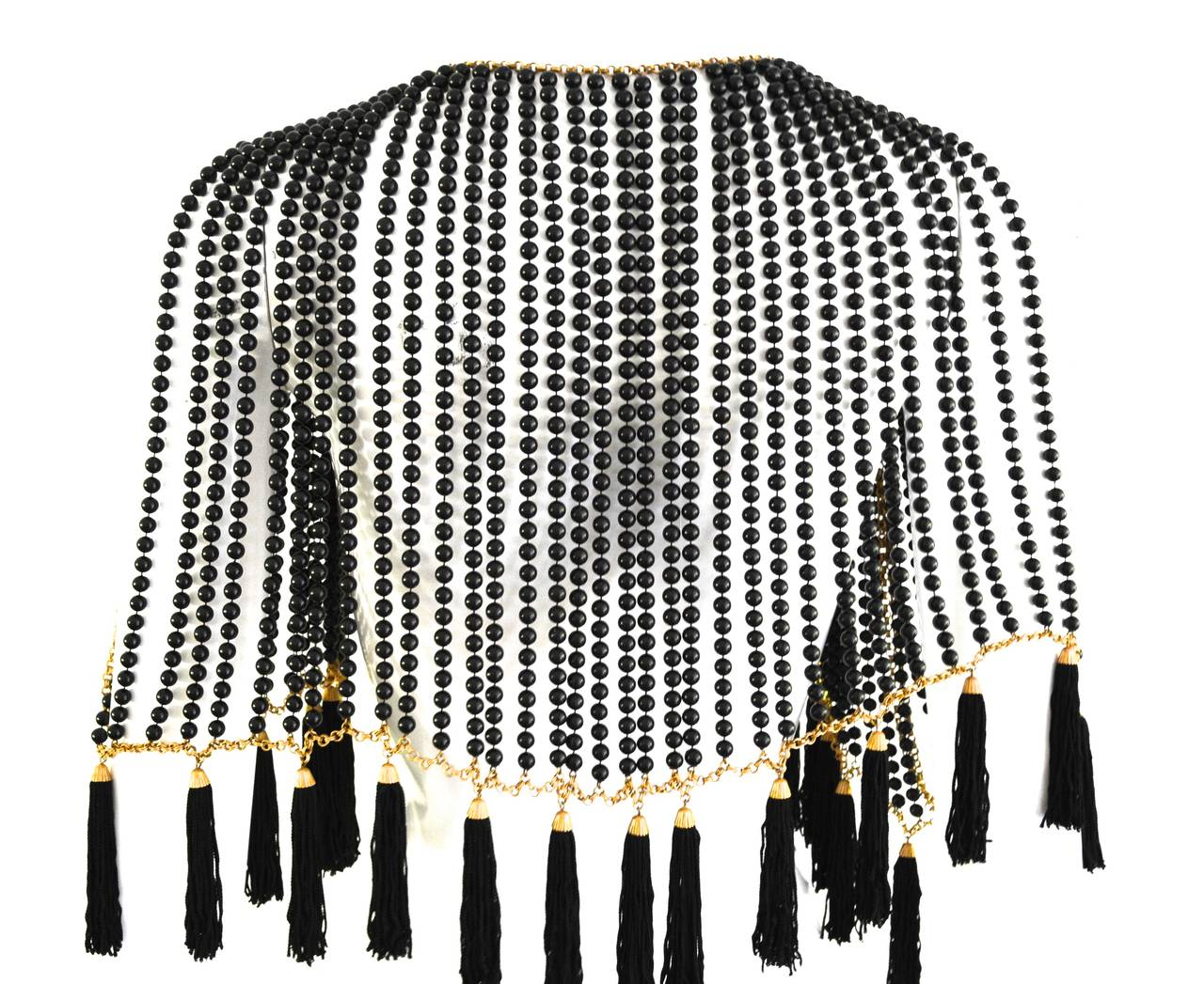 Bill Smith Richelieu Black Lucite Bead and Tassel Cape 3