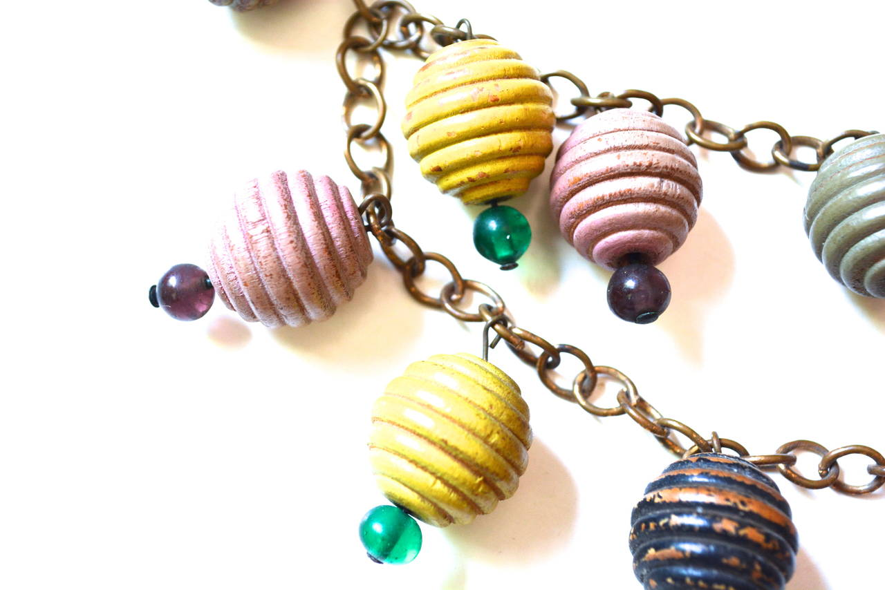 1930s Colorful Wooden Charm Necklace For Sale 1