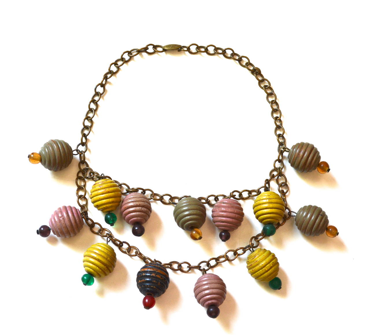 1930s Colorful Wooden Charm Necklace In Excellent Condition For Sale In Litchfield County, CT