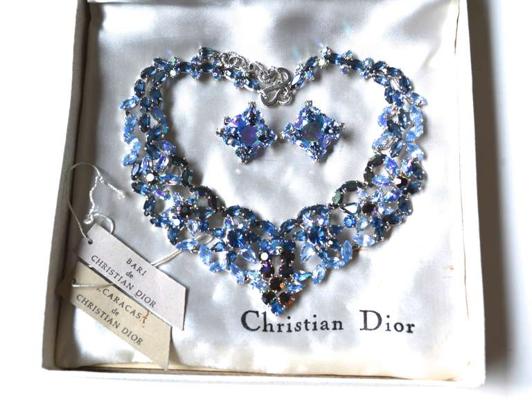 50s Christian Dior Necklace / 1958 Blue Ice Set 3